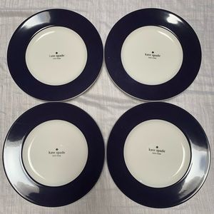 Kate Spade NWT 4 Set Rutherford Circle Navy Plates